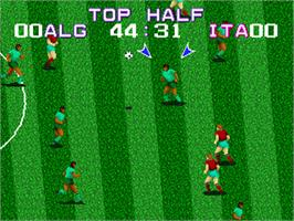 In game image of Nintendo World Cup on the Sega Genesis.