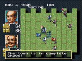 In game image of Nobunaga's Ambition on the Sega Genesis.