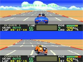 In game image of OutRunners on the Sega Genesis.