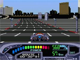 In game image of Out Run 2019 on the Sega Genesis.