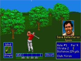 In game image of PGA European Tour on the Sega Genesis.