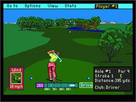 In game image of PGA Tour Golf on the Sega Genesis.
