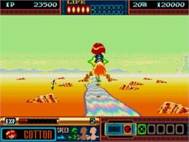 In game image of Panorama Cotton on the Sega Genesis.