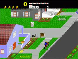 In game image of Paperboy on the Sega Genesis.