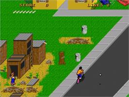 In game image of Paperboy 2 on the Sega Genesis.
