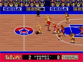 In game image of Pat Riley Basketball on the Sega Genesis.