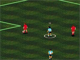 In game image of Pelé II: World Tournament Soccer on the Sega Genesis.