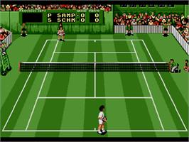 In game image of Pete Sampras Tennis on the Sega Genesis.