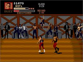 In game image of Pit Fighter on the Sega Genesis.