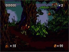 In game image of Pitfall: The Mayan Adventure on the Sega Genesis.