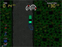 In game image of Power Drive on the Sega Genesis.