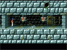 In game image of Prince of Persia on the Sega Genesis.