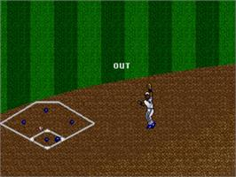 In game image of R.B.I. Baseball '93 on the Sega Genesis.
