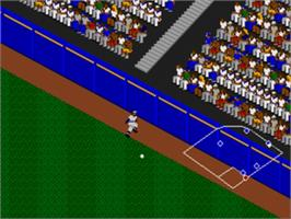In game image of RBI Baseball 3 on the Sega Genesis.