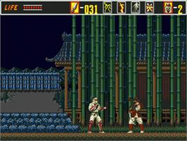 In game image of Revenge of Shinobi, The on the Sega Genesis.