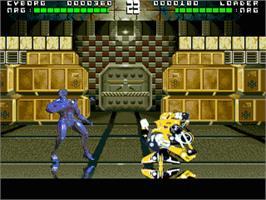 In game image of Rise of the Robots on the Sega Genesis.