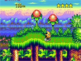 In game image of Ristar on the Sega Genesis.