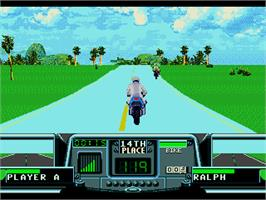 In game image of Road Rash 3: Tour De Force on the Sega Genesis.