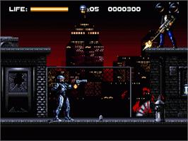 In game image of Robocop vs. the Terminator on the Sega Genesis.