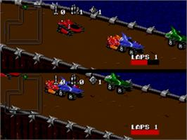 In game image of Rock 'n Roll Racing on the Sega Genesis.