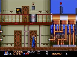 In game image of Rolling Thunder 3 on the Sega Genesis.