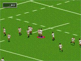 In game image of Rugby World Cup 95 on the Sega Genesis.