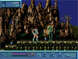In game image of Saint Sword on the Sega Genesis.