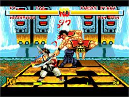 In game image of Samurai Shodown / Samurai Spirits on the Sega Genesis.