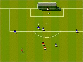 In game image of Sensible Soccer: European Champions: 92/93 Edition on the Sega Genesis.