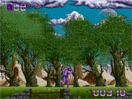 In game image of Shadow of the Beast on the Sega Genesis.