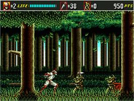 In game image of Shinobi III on the Sega Genesis.