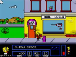 In game image of Simpsons, The: Bart vs. the Space Mutants on the Sega Genesis.
