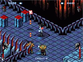 In game image of Skeleton Krew on the Sega Genesis.