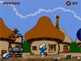 In game image of Smurfs, The on the Sega Genesis.