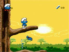 In game image of Smurfs Travel the World, The on the Sega Genesis.