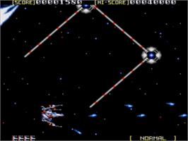In game image of Sol-Feace on the Sega Genesis.