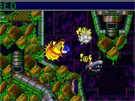 In game image of Sonic Spinball on the Sega Genesis.