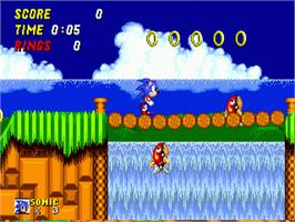 In game image of Sonic The Hedgehog 2 on the Sega Genesis.