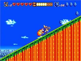 In game image of Sparkster on the Sega Genesis.