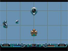 In game image of Speedball 2: Brutal Deluxe on the Sega Genesis.