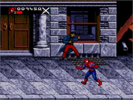 In game image of Spider-Man & Venom: Separation Anxiety on the Sega Genesis.