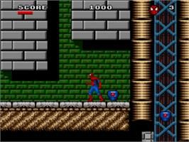 In game image of Spider-Man and the X-Men: Arcade's Revenge on the Sega Genesis.