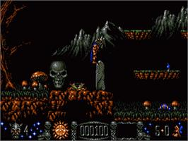 In game image of Stormlord on the Sega Genesis.