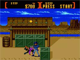 In game image of Sunset Riders on the Sega Genesis.