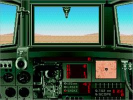 In game image of Super Battletank: War in the Gulf on the Sega Genesis.