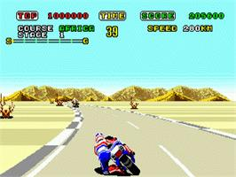 In game image of Super Hang-On on the Sega Genesis.