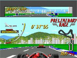 In game image of Super Monaco GP on the Sega Genesis.