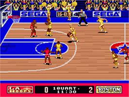 In game image of Super Real Basketball on the Sega Genesis.