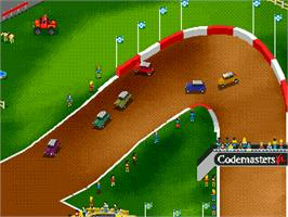 In game image of Super Skidmarks on the Sega Genesis.