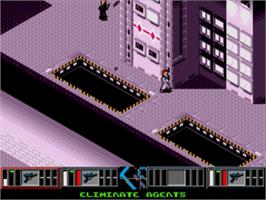 In game image of Syndicate on the Sega Genesis.